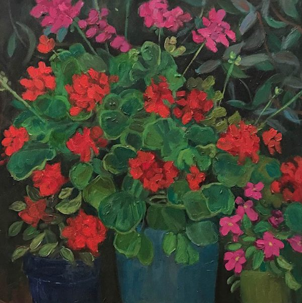 Geraniums and Impatiens by ws mccarty