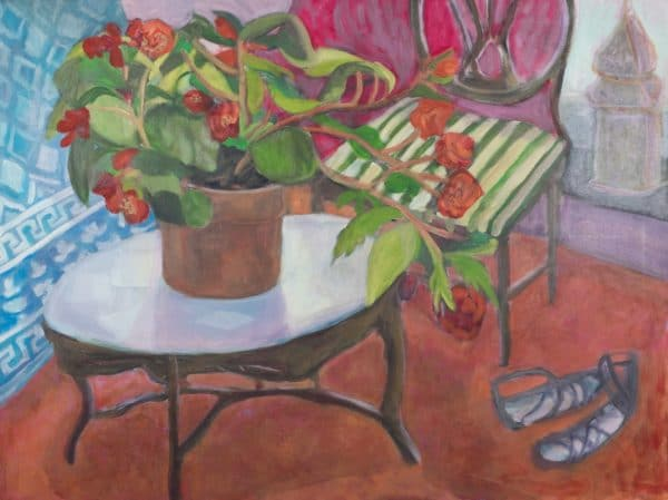 Begonia Flowers in Studio - painting by Wendy S. McCarty