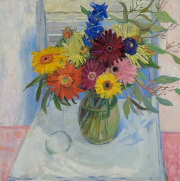 Gebera Daisies, Blue Chair - painting by Wendy S. McCarty