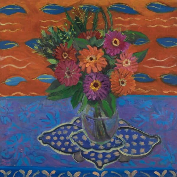 Gebera Daisies, Indian Fabric - painting by Wendy S. McCarty