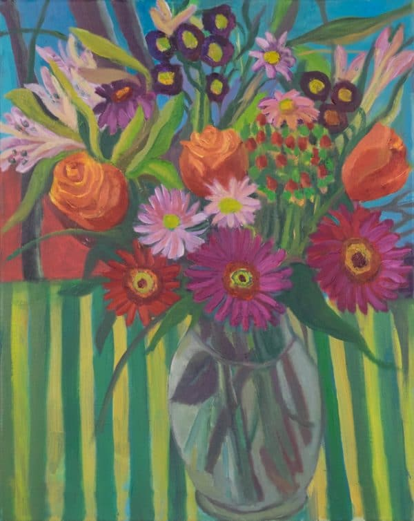 Gebera, Roses, Aster on Green Stripe Chair - painting by Wendy S. McCarty