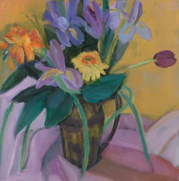 Iris in Gold - painting by Wendy S. McCarty