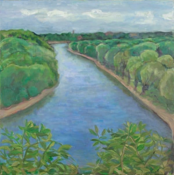 Mississippi River, St. Paul and Minneapolis Shoreline - painting by Wendy S. McCarty