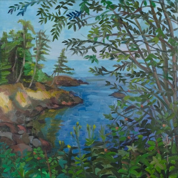 North Shore, Lake Superior, from Croftville Road, Grand Marais - painting by Wendy S. McCarty
