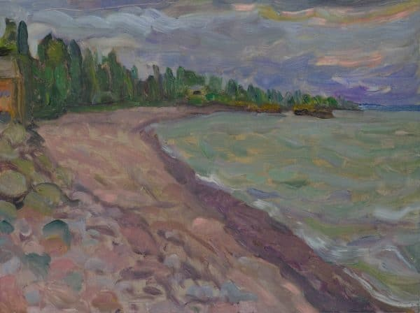 North Shore, Lake Superior (Rainy Day) - painting by Wendy S. McCarty