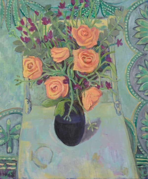 Orange Roses, Patterned Indian Fabric, chair - painting by Wendy S. McCarty