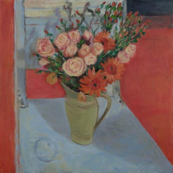 Peach Roses, Orange Gebera Daisies, Blue Chair - painting by Wendy S. McCarty