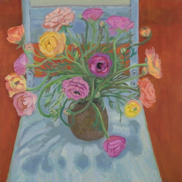 Ranunculus, Blue Chair - painting by Wendy S. McCarty