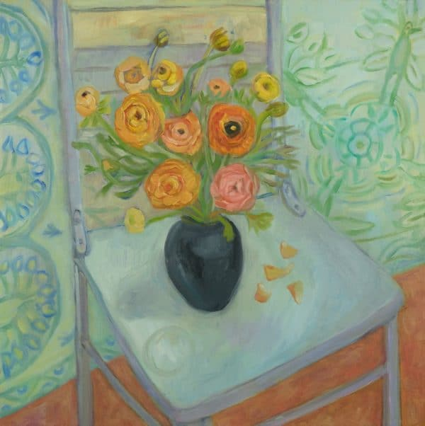 Ranunculus, Blue Chair, Indian Blanket - painting by Wendy S. McCarty