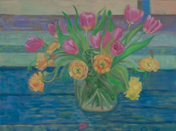 Ranunculus and Tulips - painting by Wendy S. McCarty