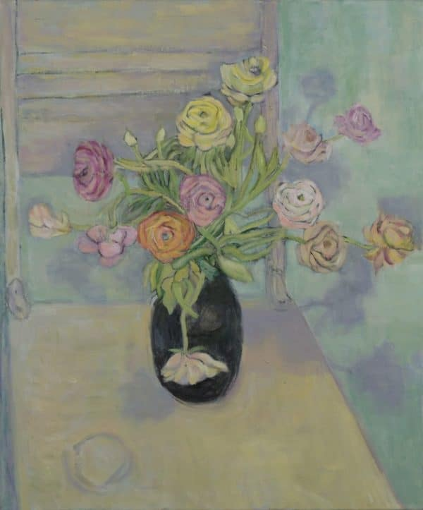 Ranunculus, Pastel Harmony - painting by Wendy S. McCarty