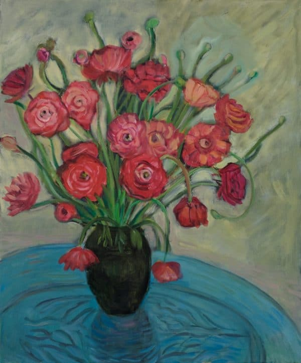Red Ranunculus, Blue Table - painting by Wendy S. McCarty