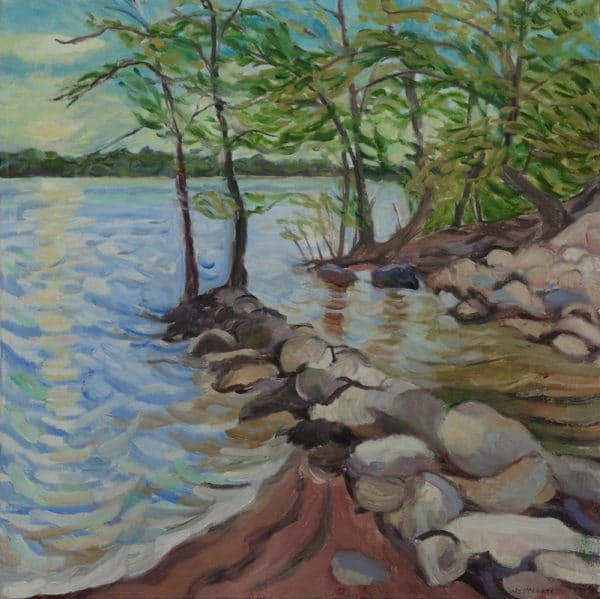 St.Croix River, Boat Launch - painting by Wendy S. McCarty