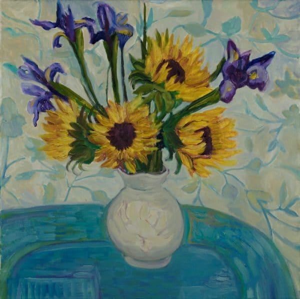 "Sunflowers in Grandma Vera's Vase, 20""x20"" - painting by Wendy S. McCarty"