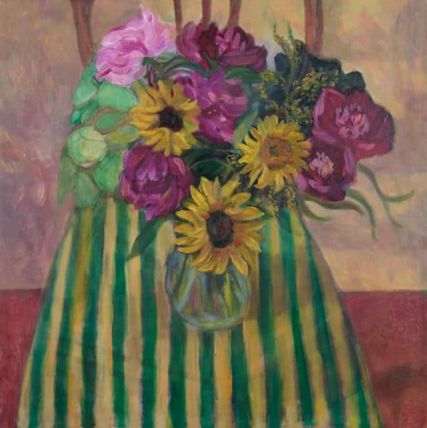 Sunflowers and Peonies on Stripes - painting by Wendy S. mccarty