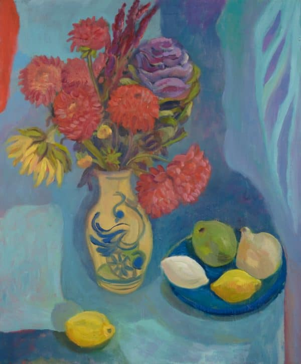 Zinnia Flowers in Mexican Vase - painting by Wendy S. McCarty